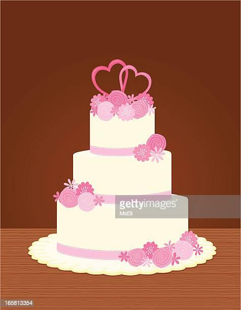 wedding cake with flowers - wedding cake stock illustrations