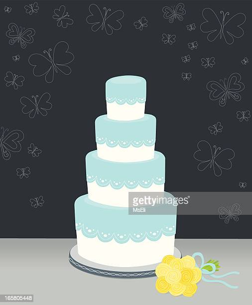 wedding cake with lace and butterflies - wedding cake stock illustrations