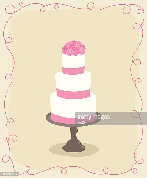 wedding cake with roses - wedding cake stock illustrations
