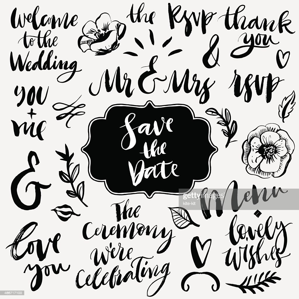Wedding calligraphy and lettering.  Ampersands and catchwords.