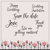 Wedding calligraphy set. Save the Date, Invitation, getting married