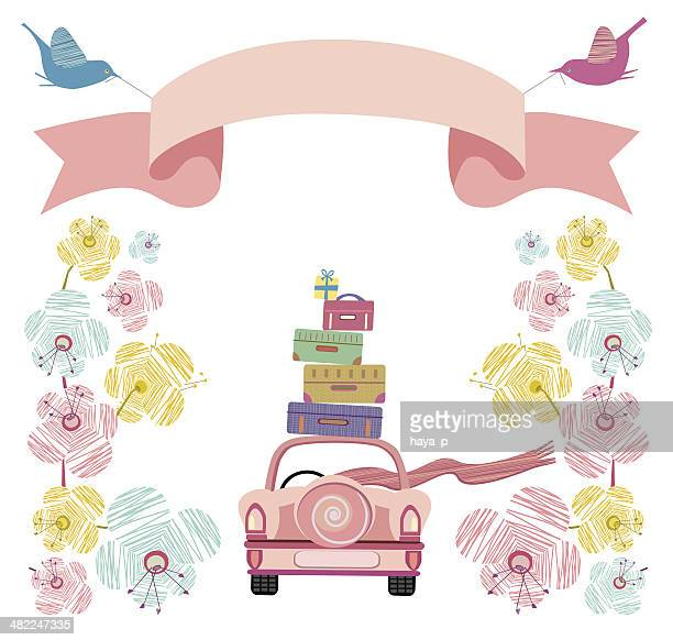 wedding car with flowers, banner and suitcases - honeymoon stock illustrations, clip art, cartoons, & icons