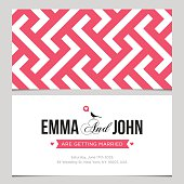 Wedding card back and front with pattern background 02