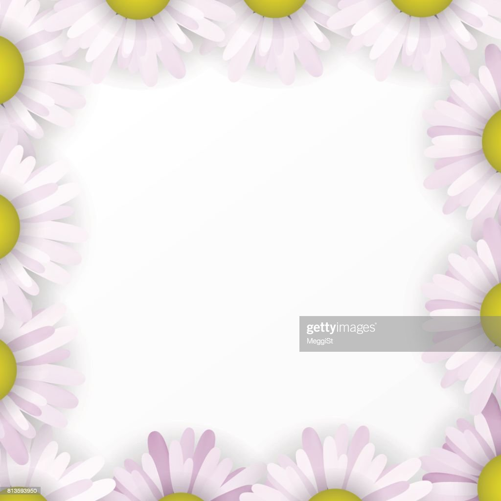 Wedding card borders daisies. Blooming blue and white frame. The floral invitation.