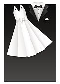 Wedding card illustration - clothes of the bride and groom - layered elements