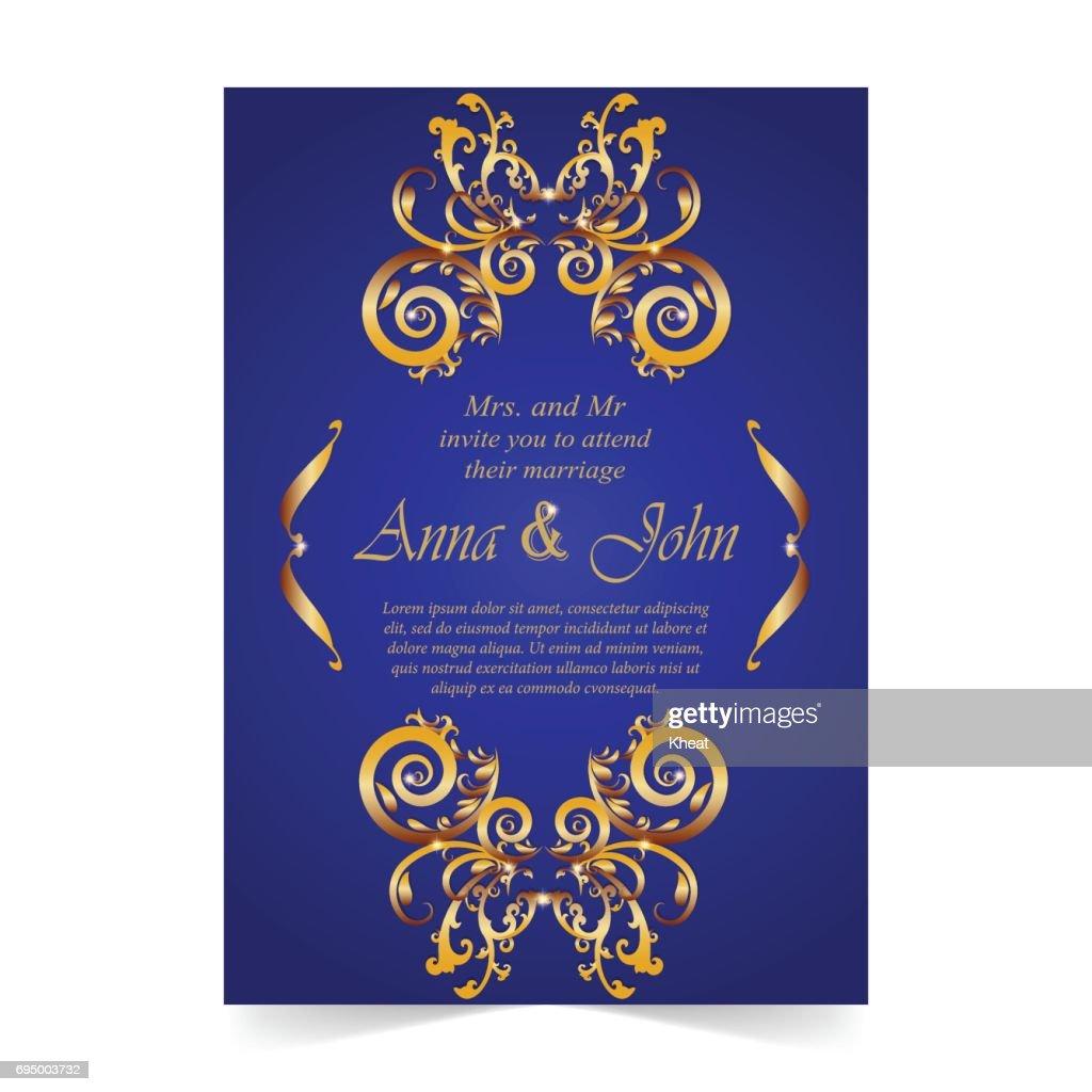 Wedding Card Invitation Card With Ornamental On Royal Blue