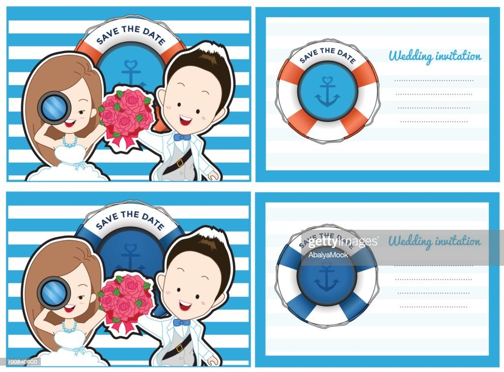 Wedding card invitation in pirate and blue sea theme.