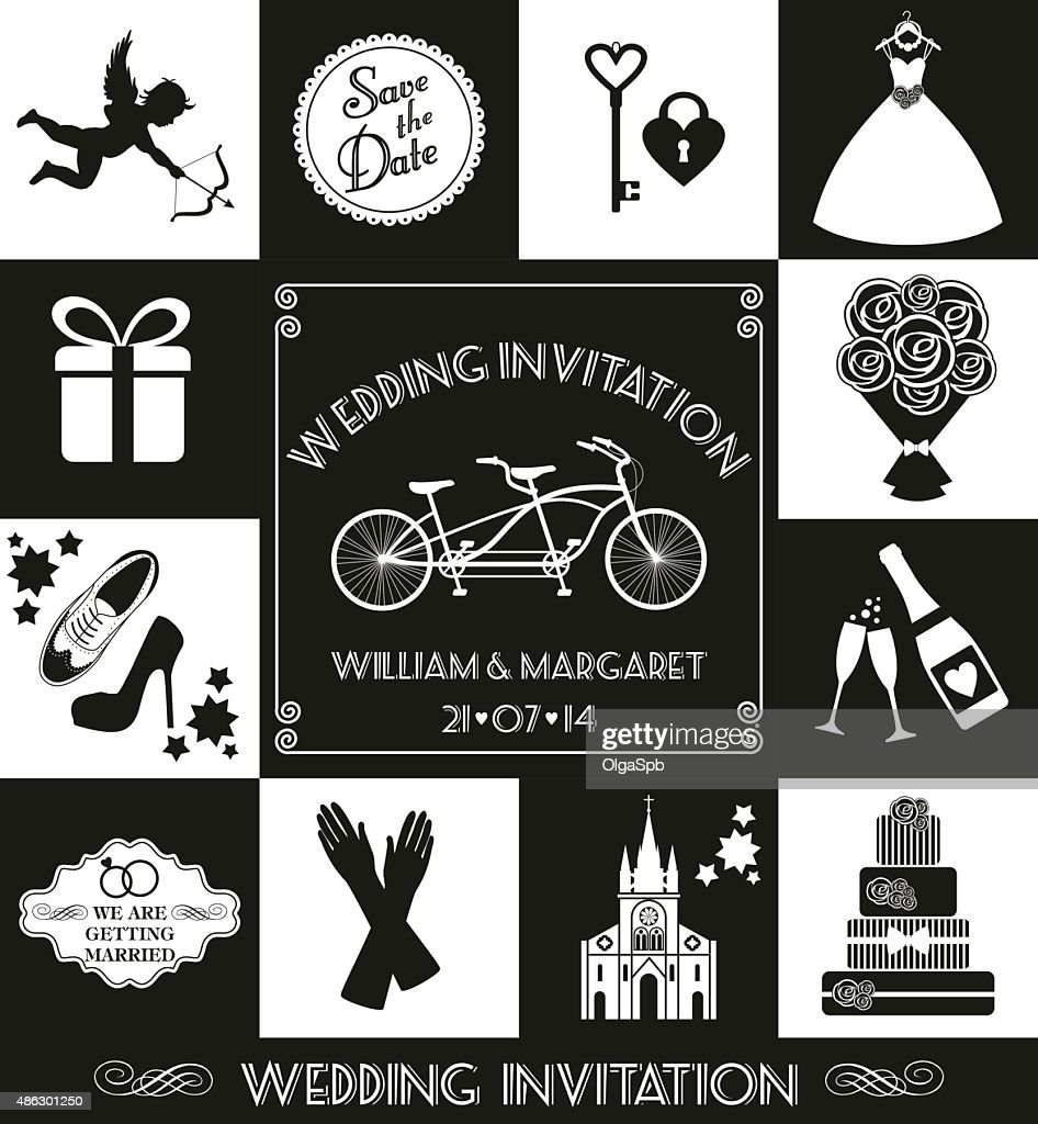Wedding card invitation of celebration symbols vector art getty images wedding card invitation of celebration symbols vector art stopboris Image collections