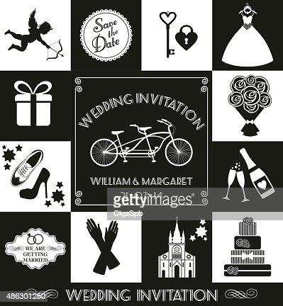 Wedding Card Invitation Of Celebration Symbols Vector Art Getty Images