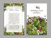 Wedding card template, tropical design