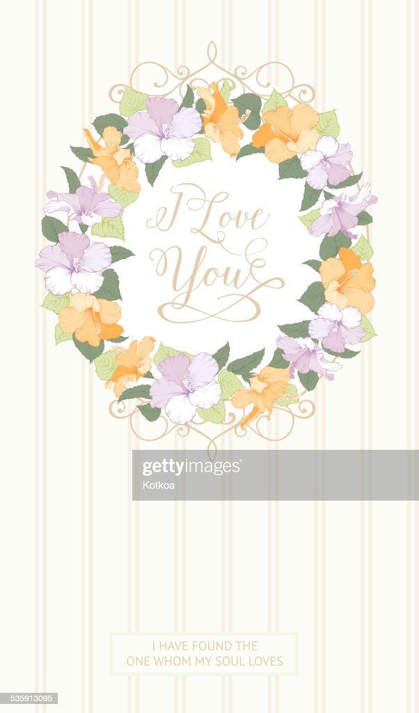 Tarjeta de boda con flores gibiscus : Arte vectorial