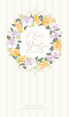 Wedding card with gibiscus flowers