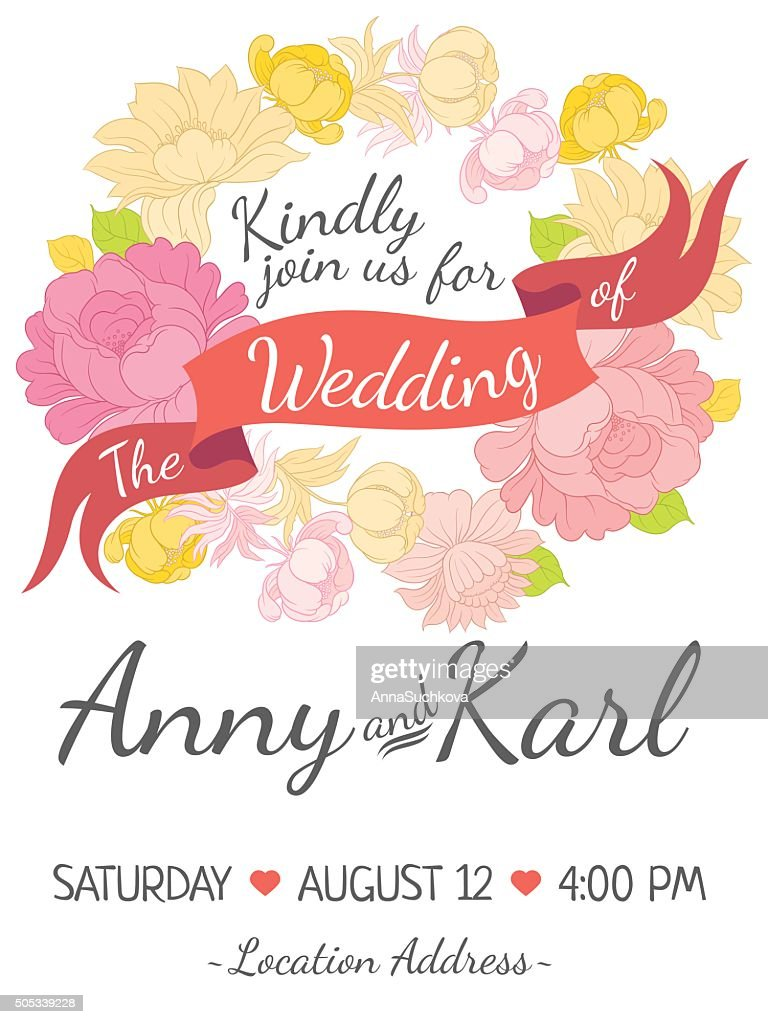 Wedding Card With Ribbon And Vector Flower Design Art