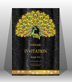 wedding cardIndian wedding Invitation card templates with gold patterned and crystals on paper color Background.s 2019858