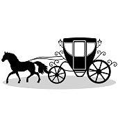 Wedding carriage. Decorative brougham. Coach.