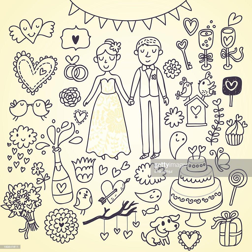 Wedding cartoon icons