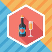 wedding champagne flat icon with long shadow,eps10