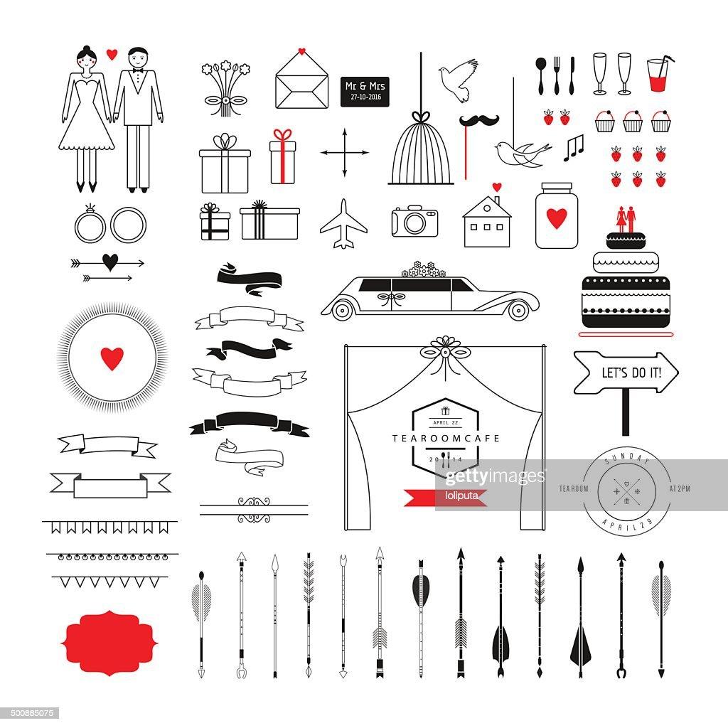 Wedding collection - vector icons, badges, arrows. Wedding, marriage, bridal.