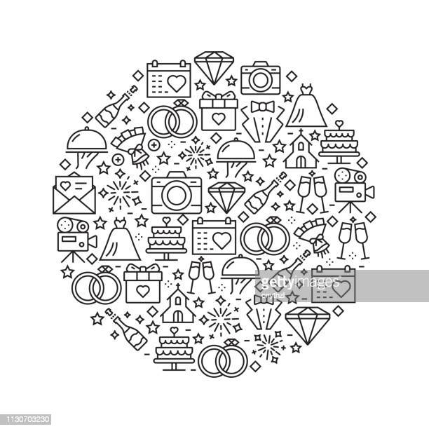 ilustrações, clipart, desenhos animados e ícones de casamento conceito - ícones de linha preto e branco, dispostas em círculo - cerimônia