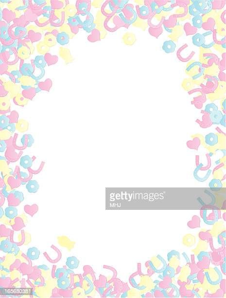 Wedding Confetti pastel Background Frame