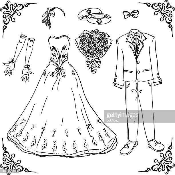 Wedding costume in black and white