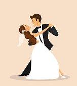 Wedding couple, bride and groom dancing