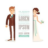 Wedding couple groom and bride on white background, invitation card