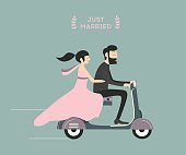 Wedding couple on motorcycle