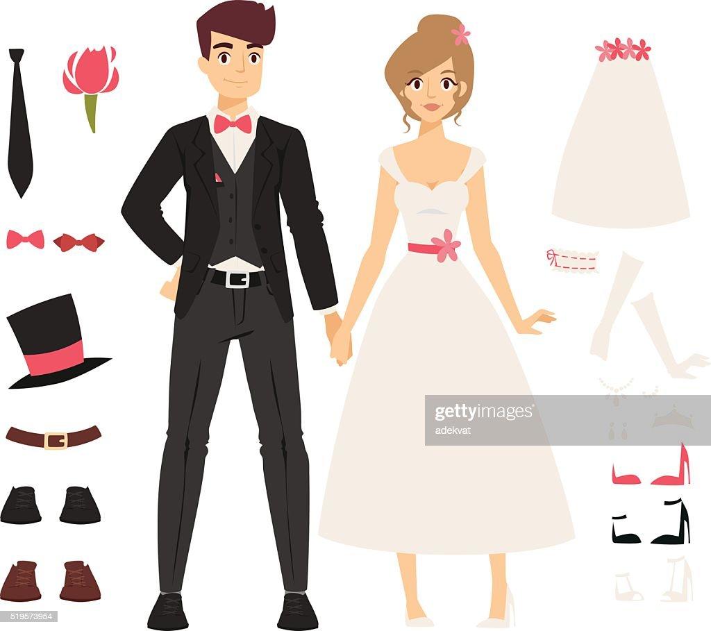 Wedding couple people vector illustration