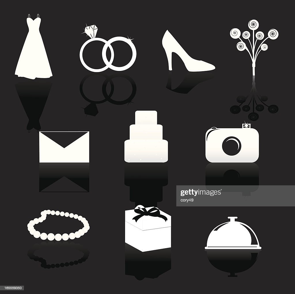 Wedding Day Symbols With Reflections Set  Vector Art