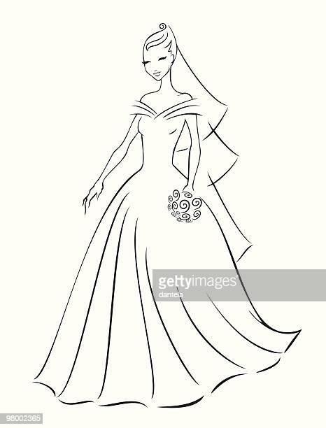 ilustraciones, imágenes clip art, dibujos animados e iconos de stock de día de boda - vestido de novia