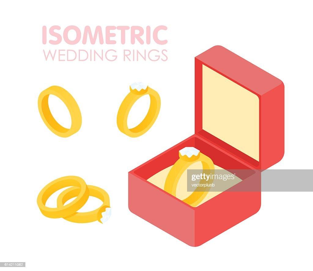 Wedding diamond ring in a box isometric set. Vector illustration