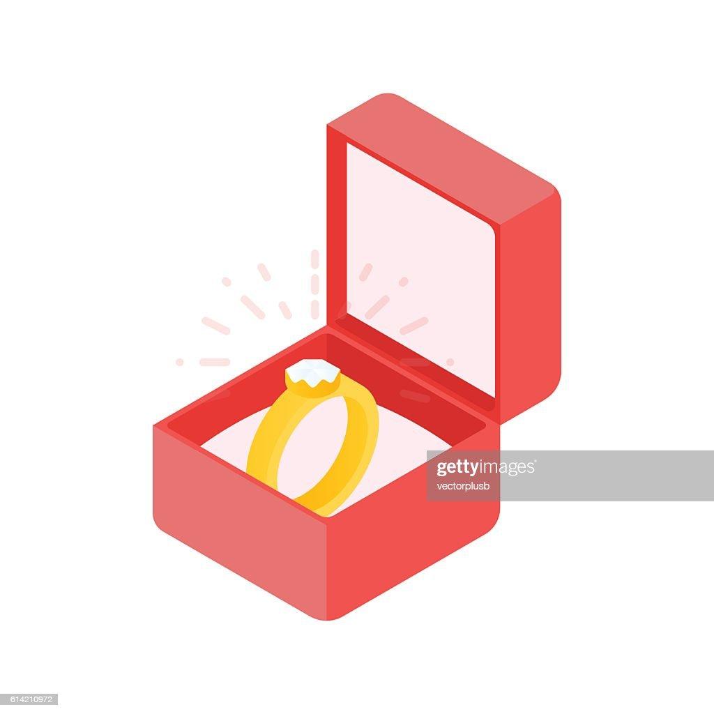 Wedding diamond ring in a box. Vector illustration