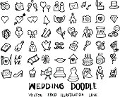 Wedding doodles sketch vector icon ink eps10
