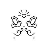 Wedding doves Birds icons. Valentines day love sign, Vector flat illustration