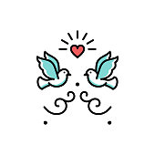 Wedding doves Love birds icons. Wedding couple signs, Valentines day line symbols, Vector flat illustration