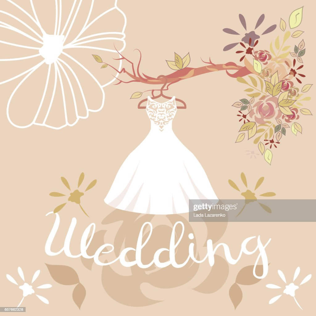 wedding dress, colorful flowers and lettering