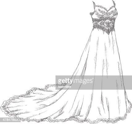 Wedding Dress Drawing Vector Art