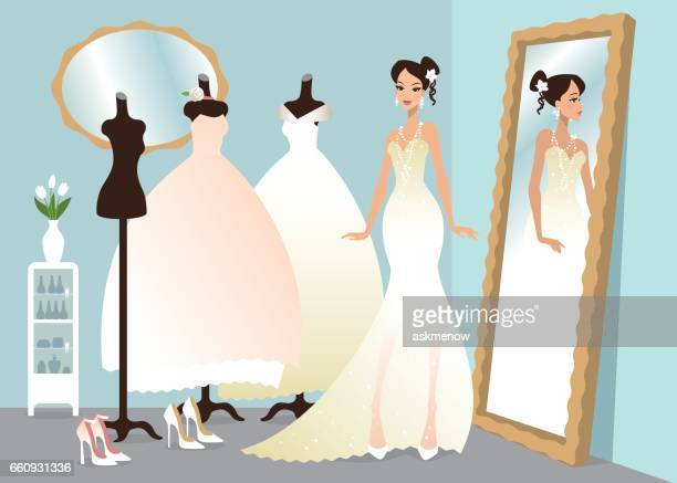 Wedding Dress Shopping Clipart
