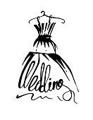 Wedding dress hand drawn
