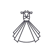 Wedding dress line icon concept. Wedding dress vector linear illustration, symbol, sign