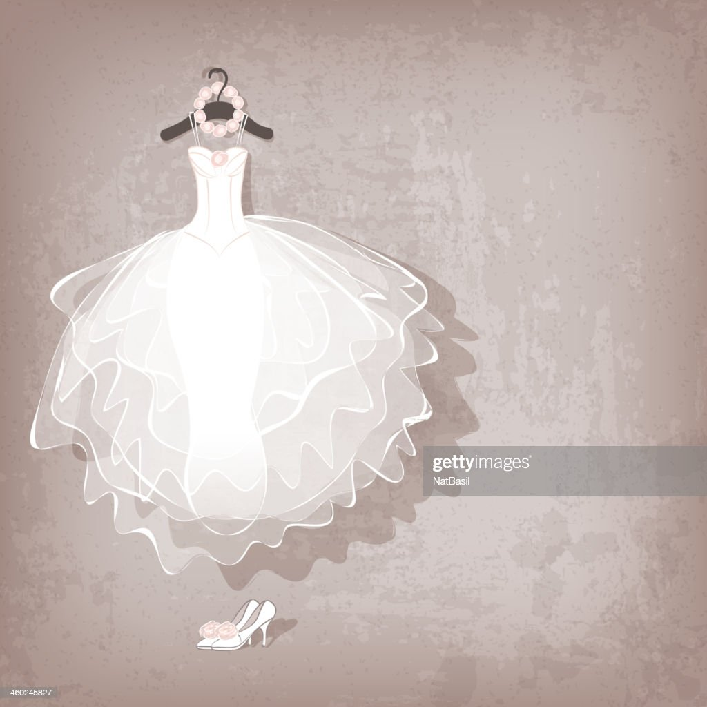 wedding dress on grungy background