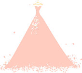 Wedding dress pink on hangers