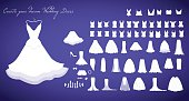 Wedding dresses collection vector  illustration