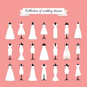 Wedding dresses icon set