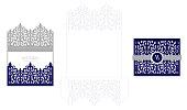 Wedding elegant invitation card packaging template. Mockup for laser cutting.