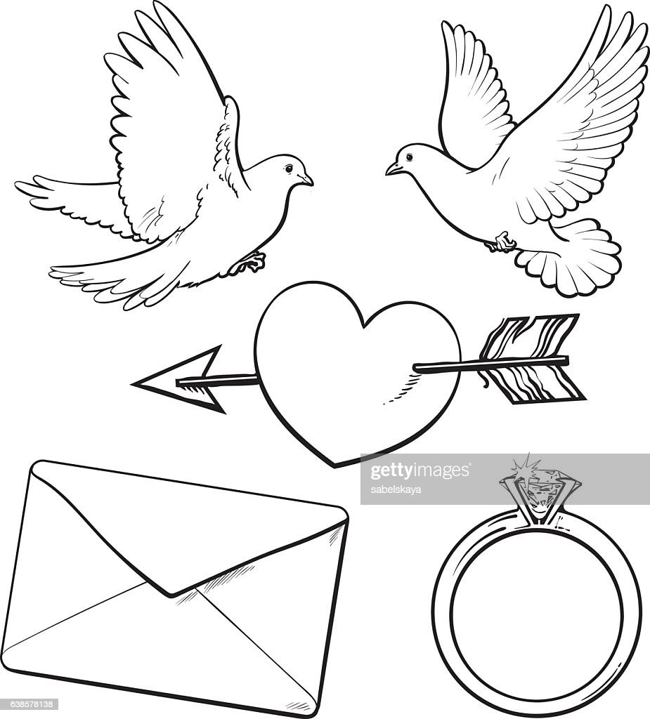 wedding engagement icon set with doves heart ring love letter