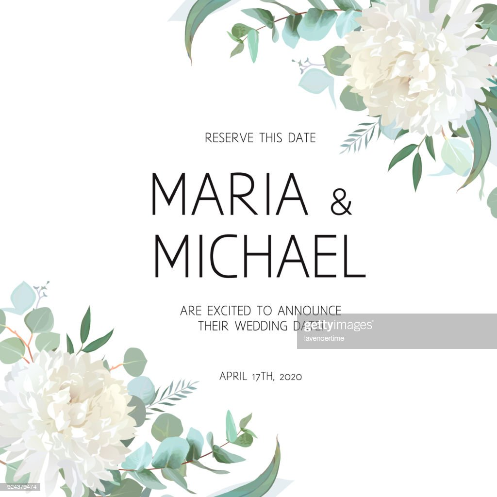 Wedding eucalyptus and white chrysanthemum flowers vector design