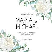 Wedding eucalyptus and white chrysanthemum flowers vector design