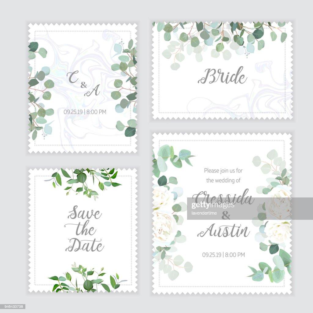Wedding eucalyptus, rose square vector design banner frames